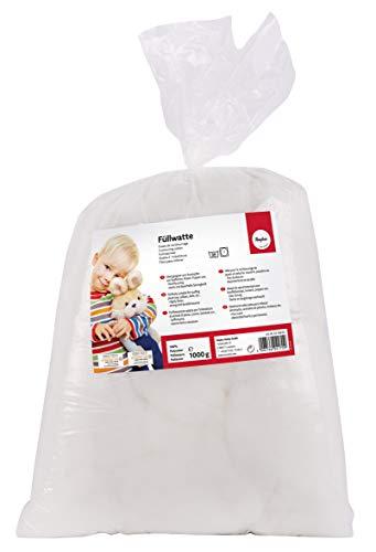 Rayher 3315800 Füllwatte hochflauschig 1 kg Beutel, Füllmaterial 100% Polyester, weiß, Flocken, waschbar 95 Grad, Bastelwatte, Kissenfüllung, Füllmaterial, Stopfwatte