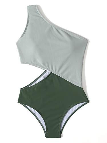 SweatyRocks Women's Bathing Suits One Shoulder Cutout One Piece Swimsuit Swimwear Monokini White Army Green Small