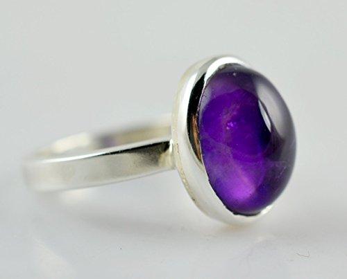 Anillo de plata amatista, anillo, anillo de piedra de gema, anillo de plata, anillo hecho a mano, anillo de plata de ley 925 maciza Tamaño 4 a 31 ES