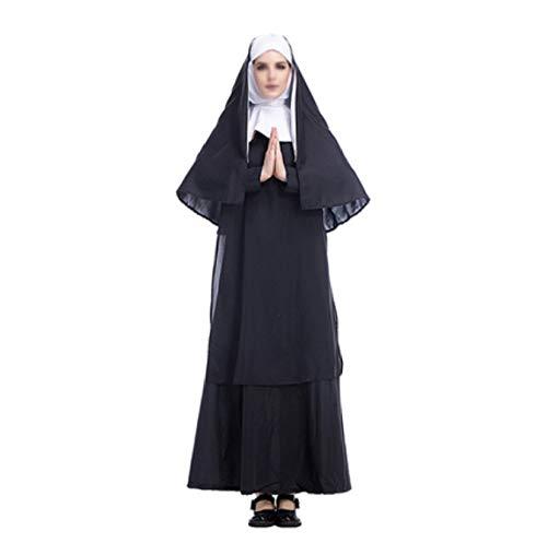 Mujer Disfraz De Monja Monja Jesús Con Capucha Obispo Tocado Show Fiestas Disfraces Disfraz Poliéster Virgen María Semana Santa Negro Halloween Vestido Largo,Black-L