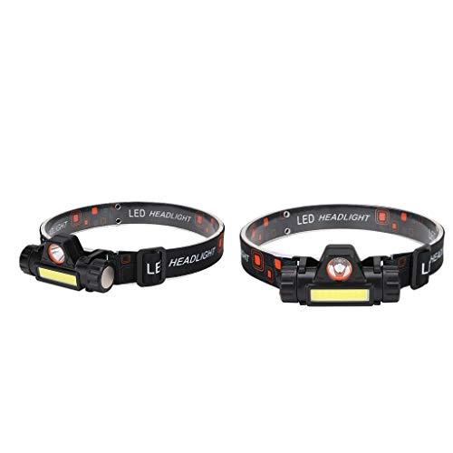 F Fityle Linterna Frontal LED Recargable por USB de 2 Piezas, Linterna Frontal Ajustable Strinlicht para Exteriores
