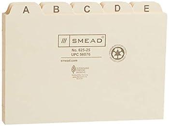 Smead Card Guide Plain 1/5-Cut Tab  A-Z  6 W x 4 H Manila 25 per Set  56076