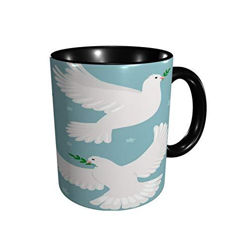 Taza de café palomas con taza de té de rama de oliva tamaño 12 oz tazas de café de cerámica para restaurante, café, oficina, hogar