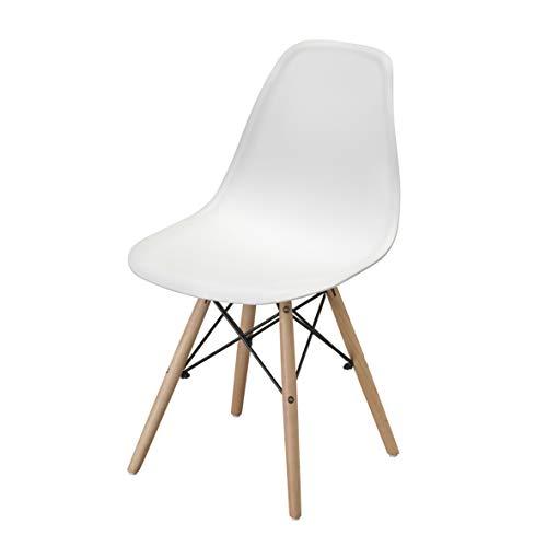 Sedia da Pranzo o Ufficio con Gambe in Legno, Sedia Ergonomica 54X46X82cm