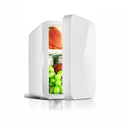 Mini Frigorífico Refrigerador de coche Mini Bar Volumen Mini Nevera con Estante Extraíble Ajustable LED Ruido Mínimo de Eficiencia Energética Blanco standard,8L