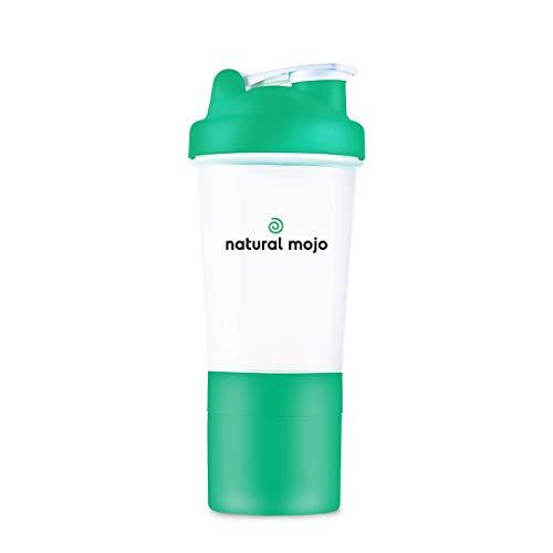 Natural Mojo Premium Shaker – Superfood Trainings-Buddy als Protein Shaker und für andere Nahrungsergänzungsmittel, 500 ml Fassungsvermögen mit Netz – Grün