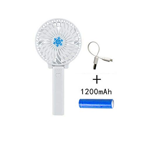 Ventilador portátil USB, Ventilador de Mano, Ventilador de Mesa Plegable, Carga USB, Funciona con Pilas, para Viajes en casa o en la Oficina, Blanco