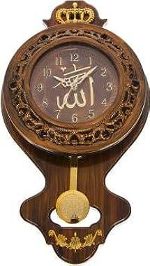 NK Creation Plastic Best Pendulum Makka Wall Clock (Brown)