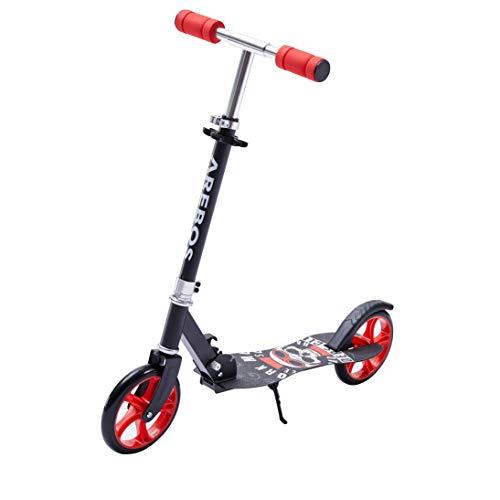 AREBOS Tretroller Scooter | XXL Räder | Trageband | rutschfeste Trittfläche | Höhenverstellbar | Tritt-Bremse | max. 100 kg | Rot