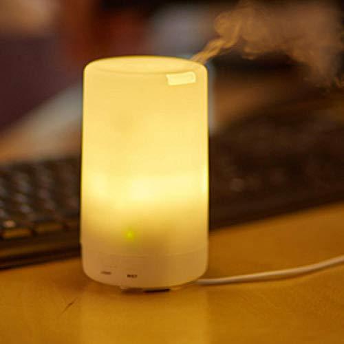 Bryights Humificador Mini Humidificador De Aire Ultrasónico Carga USB 7 Colores Luz Nocturna Led Aceite Esencial Difusor De Aroma para Oficina Coche Hogar-Luz Calida