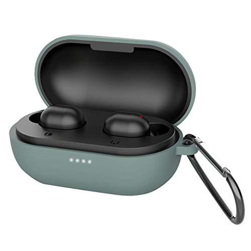 freneci Custodia Protettiva in Silicone Migliorata per Cuffie Bluetooth Haylou GT1 PRO - Verde (con Portachiavi)