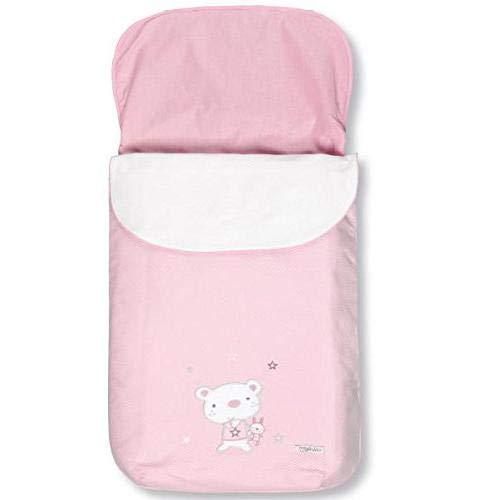 Pirulos 45013014 - Saco carro, diseño osito star, algodón, 48 x 82 cm, color blanco y rosa