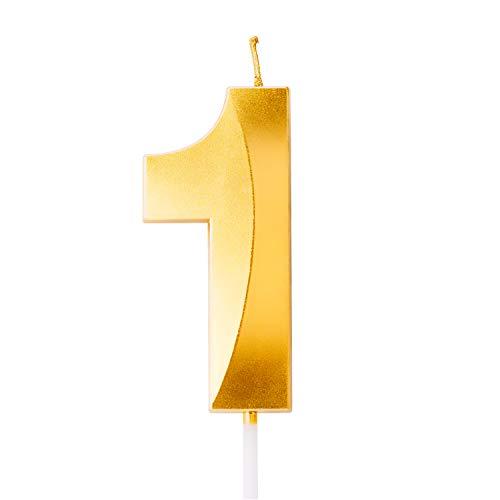 LUTER Goldene Kerzenzahl zum Geburtstag mit Speziell 3D Design, Nummer Kerzen Anzahl Kerzen Geburtstagkerzen Cake Topper Dekor für Cupcake Torten und Kuchen (Mittelgroße