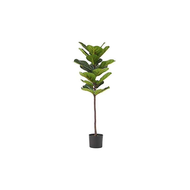 silk flower arrangements christopher knight home vanessa artificial fiddle-leaf fig tree, 4' x 1.5', green + black