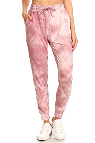 Leggings Depot JGA-S771-S Thulian Tie Dye Print Jogger Pants w/Pockets, Small