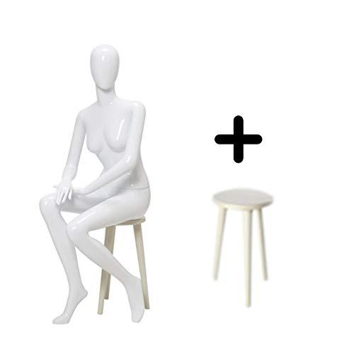 CJF Vrouwelijke Mannequin, Volledige Body Display Kleding Jurk vorm, ABS Kunststof Realistische Manikin Shop Showcase Raam, Verstelbare Dummie, met Plastic Bench, voor Tailor