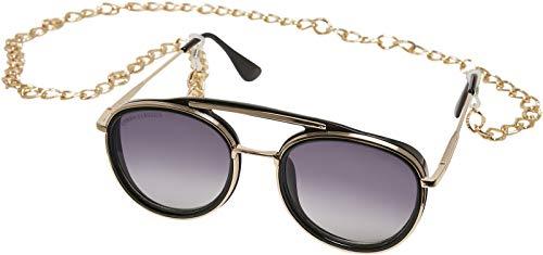 Urban Classics Sunglasses Ibiza with Chain Gafas, Negro/Dorado, Talla única Unisex Adulto