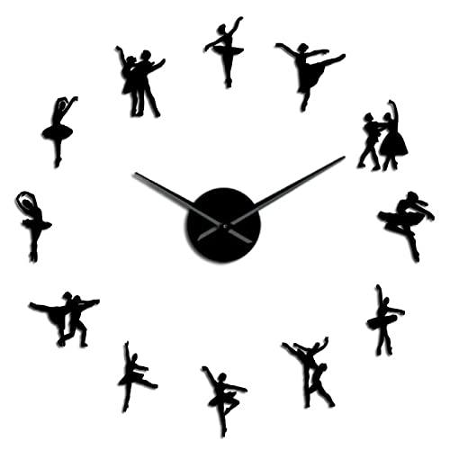 hufeng Reloj de pared bailarina arte de pared DIY reloj de pared agujas sin marco ballet bailarín reloj de pared bailarina bailarina bailarina negro 37 pulgadas