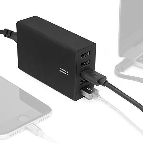 aiino italian ideas Table Charger 5 USB 8A, 40W Ricarica alla Massima velocità 5 Dispositivi Simultaneamente, Compatto E Portatile, Compatibilità Universale - Nero