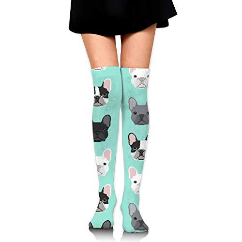 GERSWEET Knee High Tube Sports Socks for Girls Women French Bulldog Sweet Dog Puppy Puppies Dog Compression Socks Over Thigh High Long Breathable Stockings