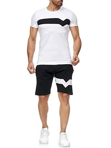 Geagodelia Tuta Uomo Completa Estiva 2 Pezzi T-shirt + Pantaloncino in Cotone Tuta Uomo Casual Sportivo Leggero M-3XL Ragazzo (Bianco, l)