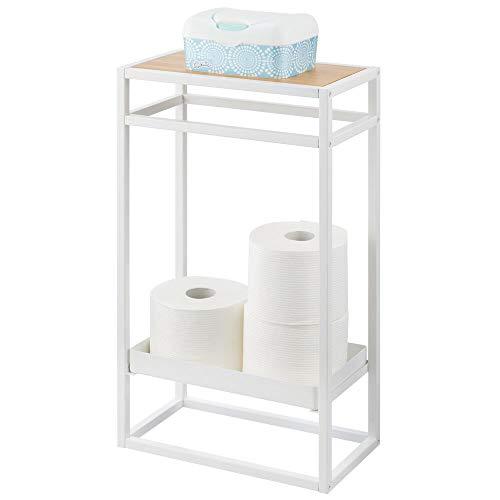 mDesign Toilettenpapierhalter freistehend – moderner Papierrollenhalter mit Aufbewahrung für Ersatzrollen – stilvoller Klopapierhalter aus Metall mit Ablage – weiß/Natur