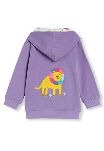 Coton Bio - Appliqué Animaux - Bébé Petit Garçon Fille - Sweat-Shirt á Capuche (0-4 Ans) (3M (0-3 Mois), Lion Violet)