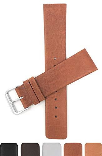 Schraubverbindung, 12mm Dunkel Hellbraun Ersatz-Uhrenarmband für Herren, Lederarmband für Skagen Uhren, Befestigung mit Schrauben