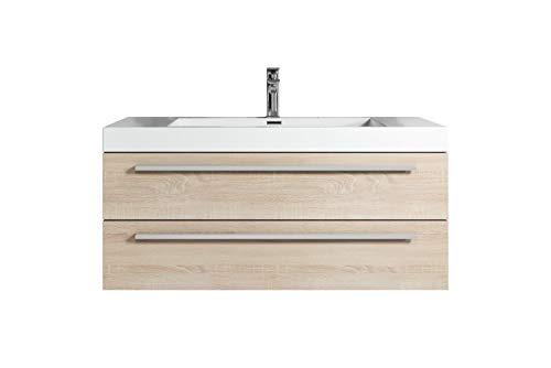 Badezimmer Badmöbel Rome 100 cm Eiche hell - Unterschrank Schrank Waschbecken Waschtisch