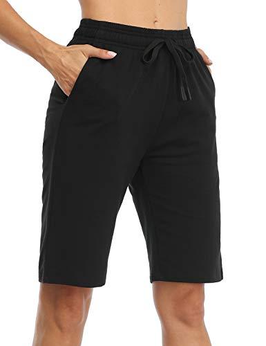 Safort Damen Shorts Sport Yoga mit 100% Baumwolle Kurze Hose Sweatpants Laufshorts, Schwarz XL