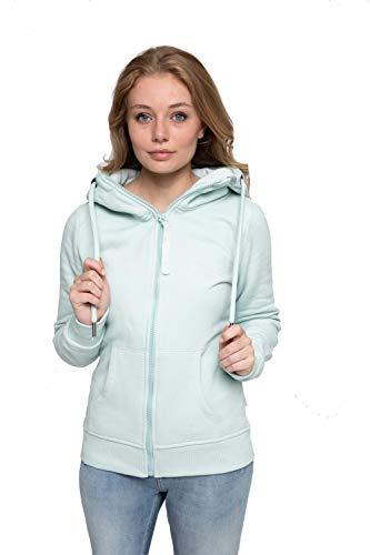 Zhrill Damen Zip Hoodie Kapupzenjacke Sweatjacke Slim Fit Sportlich Lässig Nora, Größe:M, Farbe:T8109 - Mint Mel