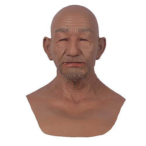 U-CHAMRMMORE FTM Transgender Soft Silicone Head Hat Face for Crossdresser Transgender Halloween Cosplay (Color 3 Brown)