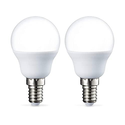 Amazon Basics E14 LED Lampe P45, Tropfenform, 5.5W (ersetzt 40W), warmweiß, 2er-Pack