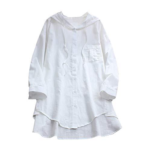 Linen Große Größe T-Shirt mit Kapuze für Damen/Dorical Mode Frauen Lange Ärmel V-Ausschnitt Knopf Tops Casual Sommer Lose Lang Oberteile Elegant Solid Blouse Shirt S-3XL Ausverkauf(Weiß,Medium)