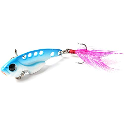 Farleyshop DYYW-Lure, 1pcs Metal VIB Fishing Lure 7g Vibration Spoon Lure Crankbait Bass VIB Artificial Hard Baits with Feather Cicada (Color : 5)
