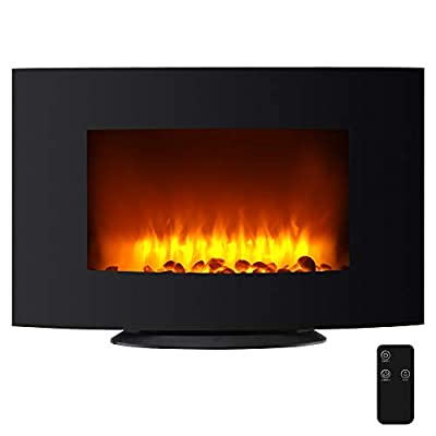Amailtom Electric Fireplace,36 Inch 2-in-1 Wall Mounted & Free Standing Fireplace Heater Realistic LED Flame with Remote Control,Adjustable 750W/1500W Space Heater for Living Room,Black