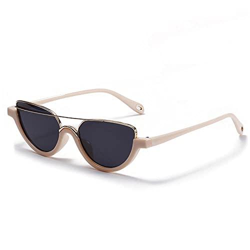 WQZYY&ASDCD Gafas de Sol Gafas De Sol De Ojo De Gato Retro Gafas De Sol De Moda para Mujer Negro Uv400 Anti-UV-Beige