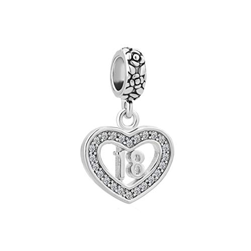MiniJewelry 18th Birthday Love Heart Dangle Charm for Bracelets fits Pandora Charms Bracelets Women Daughter Sister Wife Gift Anniversary