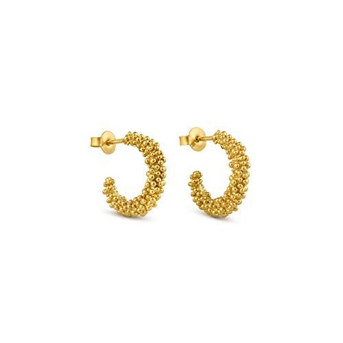 JOIDART – PENDIENTES DORADOS STARDUST | Diseñado por Carme Fàbregas | Colección Stardust | Pendientes medianos tipo aros de metal con baño de oro de 24 K