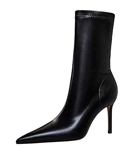 Hanfike Botas de vestir para mujer señaló el dedo del pie botines DS315-A12, Black, 36.5 EU