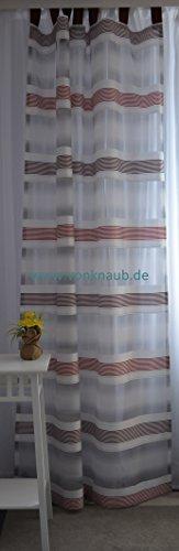 Homing Rideau à passants – avec bande universelle Rideau semi-transparent à rayures transversales env. 140 x 245 cm blanc/gris/bordeaux