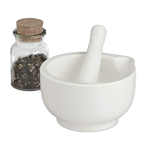 Relaxdays Mörser mit Stößel aus Porzellan, 15 cm Durchmesser, Gewürzmörser, Mahlschüssel mit Schlegel, hochwertig, weiß