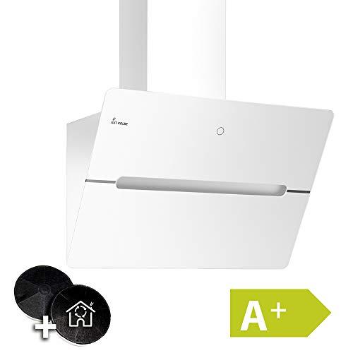 Kopffreie Dunstabzugshaube, Wandhaube (60cm, Edelstahl, Weißes Glas, Extra-leise, 9 Stufen, LED-Beleuchtung, TouchSelect Sensortasten, Nachlaufautomatik) ECCO609W - KKT KOLBE