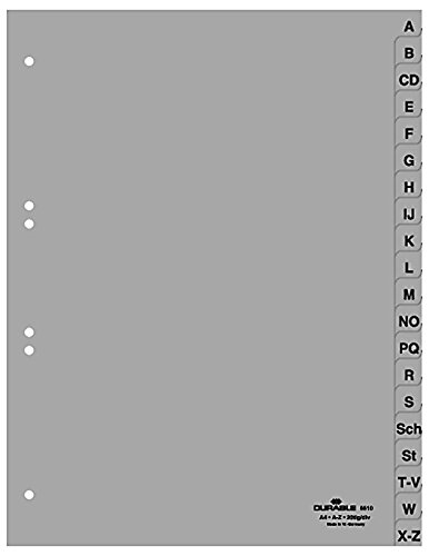 DURABLE Hunke & Jochheim Register, PP, A - Z, grau, A4 volldeckend, 215/230 x 297 mm, 20 Blatt