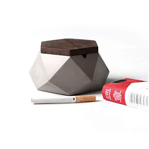 AMITD Aschenbecher mit Deckel für Draussen Grau Zement Dekoration Wohnung,118 * 55mm,Aschenbecher Beton Grau