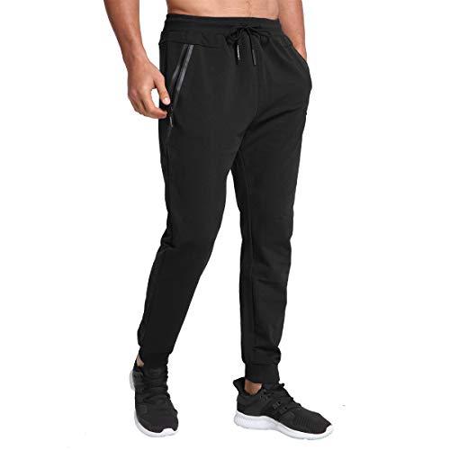 JustSun Jogginghose Herren Sporthose Trainingshose Herren Lang Baumwolle Fitness Hosen mit Reissverschluss Taschen Schwarz L