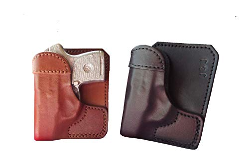 J&J Custom Formed for Your Ruger LCP II (LCP 2) Formed Wallet Style Premium Leather Back/Cargo Pocket Holster (Black, Right)