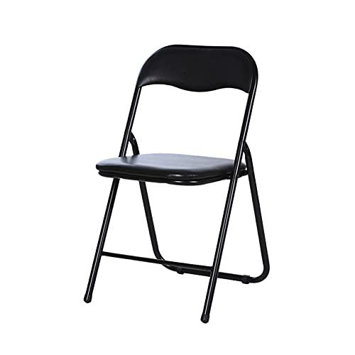 Folding chair Silla Plegable Negra, Silla De Comedor, Sillón De Jardín, Cómoda, Ultraligera, Respaldo Alto, Adecuada para Balcón, Oficina