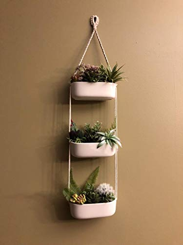 Mkono Ceramic Hanging Planter 3 Tier Indoor Wall Plant Holder for Succulent Herb Air Plant Live or Faux Plants Modern Vertical Garden , Rectangular 5 The 3-tier hanging planter is a functional and chic planter. It's a good way to let your creativity go wild, displaying the succulent, cactus, herb, air plant, ferns, orchids and other small plants with colorful pebbles, sea shell. NO plant included in this item! The ceramic wall hanging planter combine modern design and farmhouse statement that breathe life into your home, apartments, condo units, offices, living rooms, bedrooms, balcony, patios, garden, yard, even weddings, parties and more without taking too much space. The rectangle succulent pots are made of good quality white ceramic and adjustable cotton rope. Each ceramic hanging pot has draining hole in the bottom that prevent stagnant water and help you prolong the life of your precious plants.