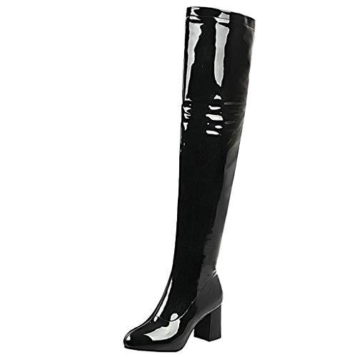 LUXMAX Damen Lack Overknee Stiefel mit Blockabsatz Lackstiefel Boots Reißverschluss Schuhe(Schwarz 41)